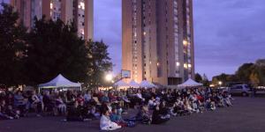 Séance «cinéma de plein air» au quartier Anthouard-Pré l'Évêque