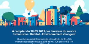 Le service Urbanisme – Habitat – Environnement change ses horaires